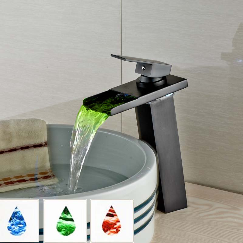 Modern Brass LED Light Glass Spout Bathroom Sink Faucet Waterfall Mixer Taps