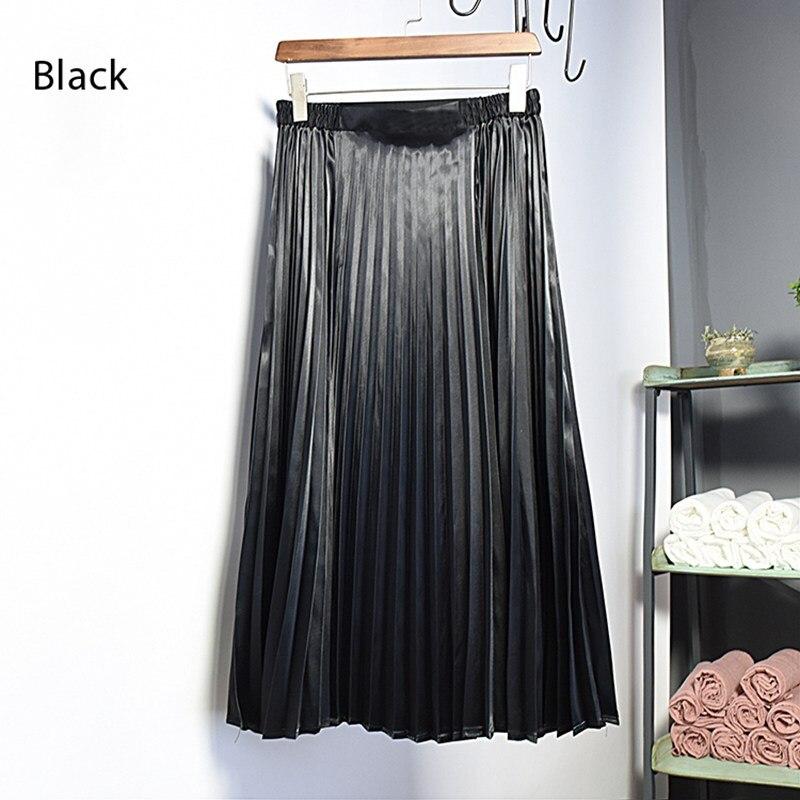 Frauen Koreanischen Stil Metall Farbe Midi Rock 2018 Herbst Winter Damen Vintage Hohe Taille Gefaltete Röcke Saias Hohe Qualität SK110