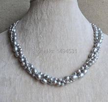 Wholesale Pearl Jewelry – 18 Inches 3 Rows 3-8mm Gray Color Genuine Freshwater Pearl Necklace – Wedding Party Jewelry.