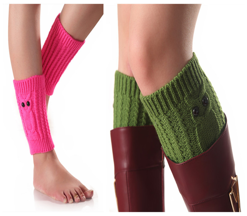 Fashion New Autumn And Winter New Owl Short Knit Socks Women's Wool Warm Boots Cover Leggings