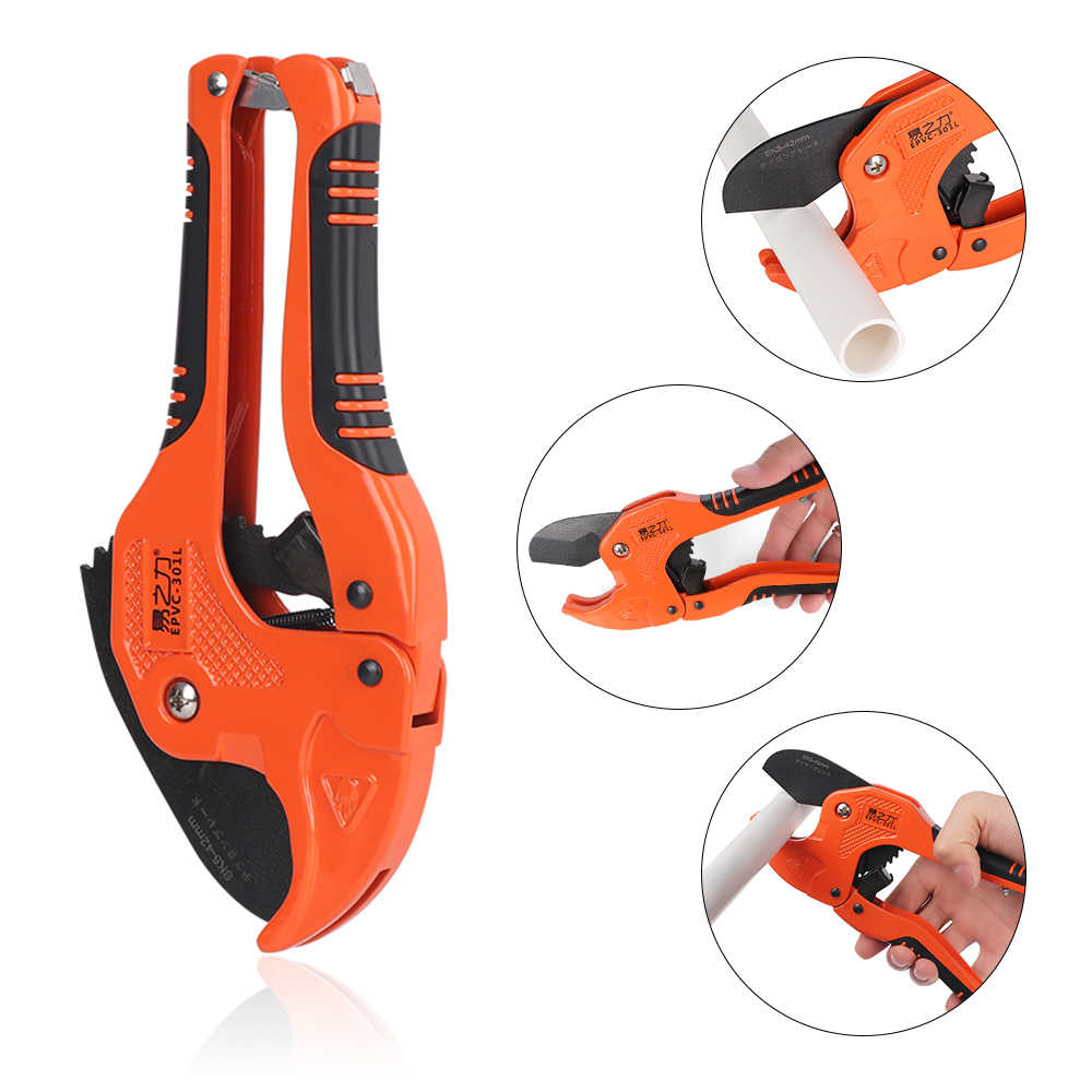 1Pcs PVC Pipe Cutter 42mm Stainless Steel Body Ratchet Scissors Tube Cutter PVC/PU/PP/PE Hose Cutting Hand Tools