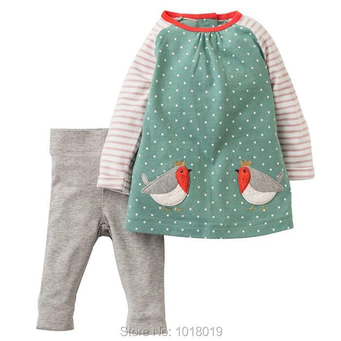 New 2017 Brand Quality 100% Cotton Baby Girl Clothes Set Children Clothing Suits Long Sleeve t-shirt Bebe Kids Clothing Set Girl 2pcs children outfit clothes kids baby girl off shoulder cotton ruffled sleeve tops striped t shirt blue denim jeans sunsuit set