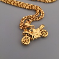 Hip Hop 18k Gold Plated Motorcycle Pendant Street Wear Gold Tone Link Chain Necklace Mens Fashion