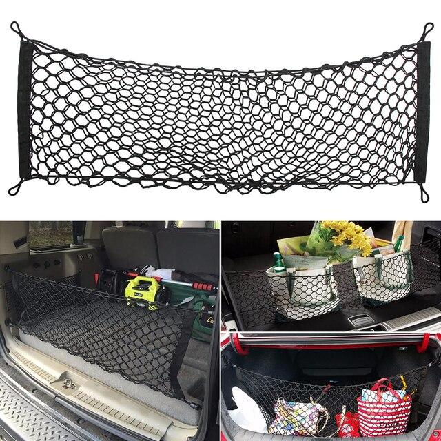 Universal Car Trunk Rear Storage Cargo Luggage Nylon Elastic Mesh 90x30 CM Net Holder With 4 Plastic Hooks Pocket New