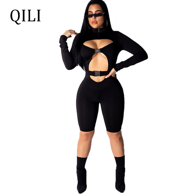 5164a14b070 QILI Black Blue Sexy Hollow Out Jumpsuit Women Rompers Long Sleeve Sold  Jersey Women Outdoor Wear Casual Rompers