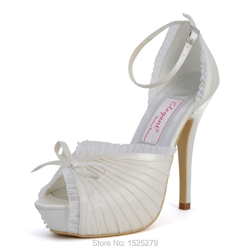 EP11056-IP Ivory White Women Peep Toe Evening Party Lace Trim High Heel Platforms Buckle Pleat Satin Wedding Bride Pumps Shoes
