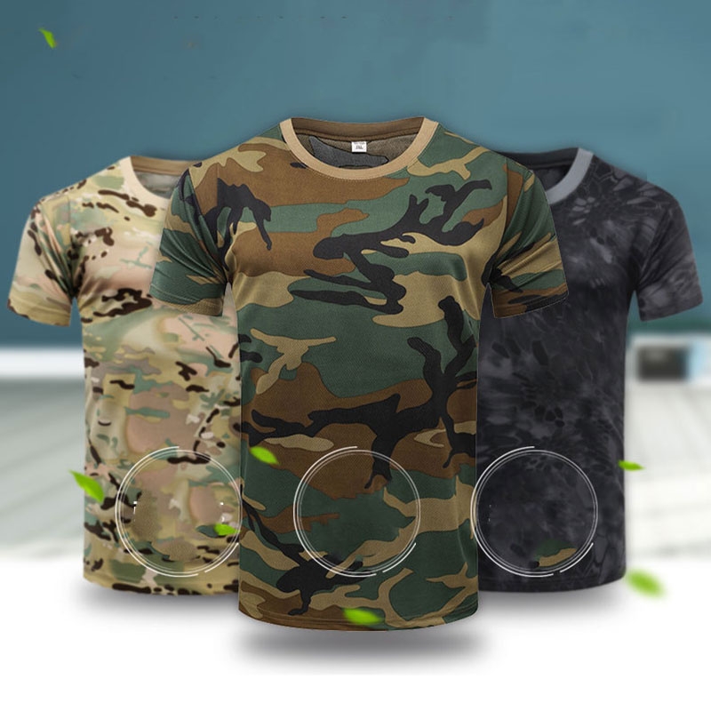 <font><b>Men</b></font> Tactical <font><b>Tshirt</b></font> Military Polyester Quick Drying T-Shirts <font><b>Army</b></font> Short Sleeve Wear Resistant Tee Soldier Breathable T Shirt image