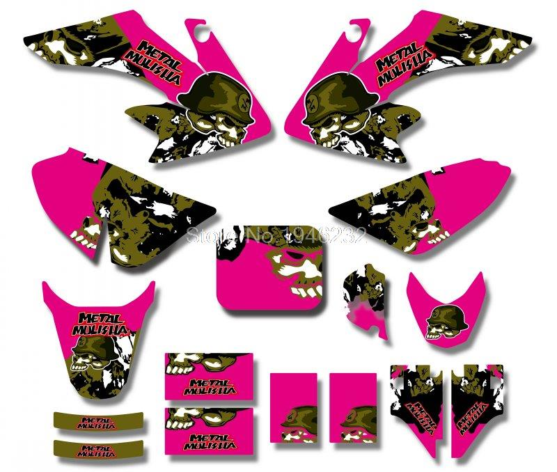 Metal skull New Style TEAM  GRAPHICS&BACKGROUNDS DECAL STICKERS Kits For Honda CRF50 2004-2012 STYLE Pit Dirt bike(Pink)