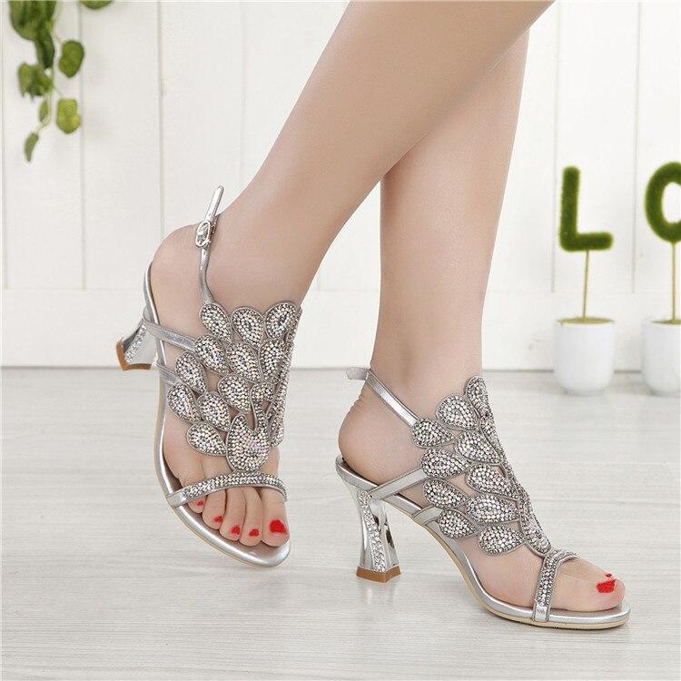 G-sparrow 2018 Summer Korean Rhinestone Slipper Silver Elegant Wedding Shoes Womens Crystal High Heel Sandals7