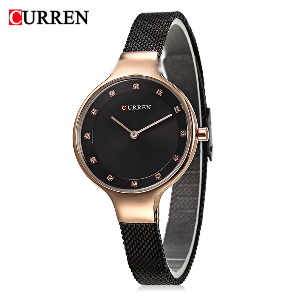<font><b>CURREN</b></font> Women Quartz Watch Stainless Steel Mesh Band Luxury Top Brand Ladies Dress Bracelet Wristwatch Gifts relogio feminino #a image