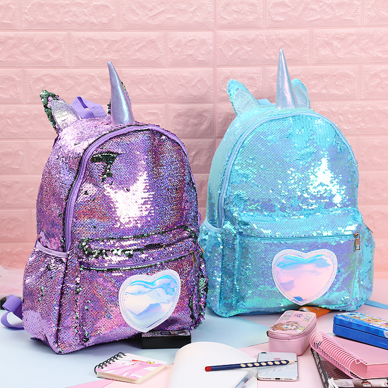 Girls Fashion Sequins Unicorn Backpack Women PU Leather Large Capacity Bag Girl Book Bag Satchel School Bag For Teenager Student