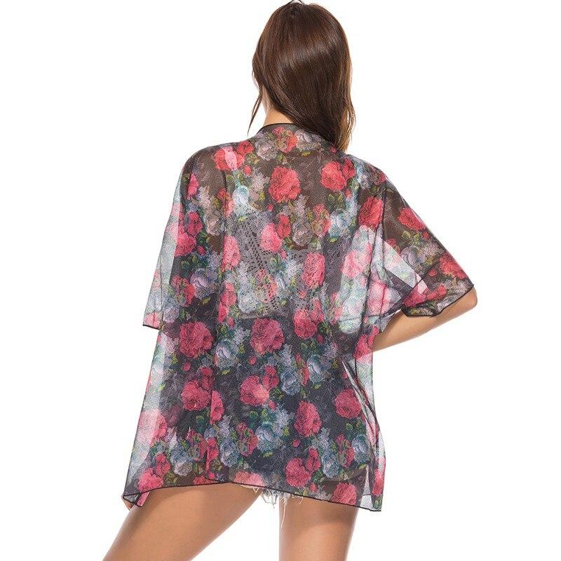 2019 Women Vintage Floral Printed Blouse Ladies Casual Kimono Cardigan Summer Beachwear Chiffon Loose Tops Thin Kimono in Blouses amp Shirts from Women 39 s Clothing