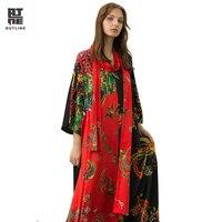 Контур Для женщин Кафтан цветочный летний Повседневное платья ботильоны Длина Винтаж Свободные Лоскутная V шеи три четверти плюс VestidoL182Y046