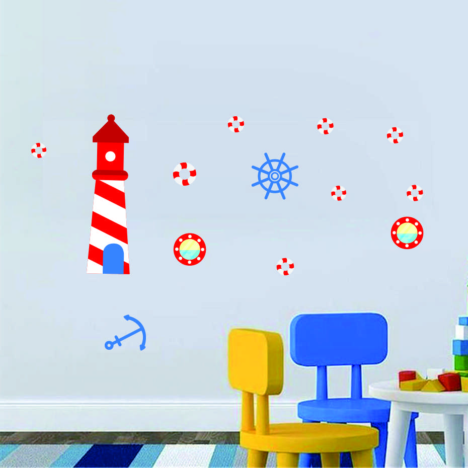 Anchor Lighthouse Octopus Submarine DIY Wall Art Decal For Kid Nursery Bedroom Home Decor Vinyl Wall Sticker Removable Wallpaper (7)