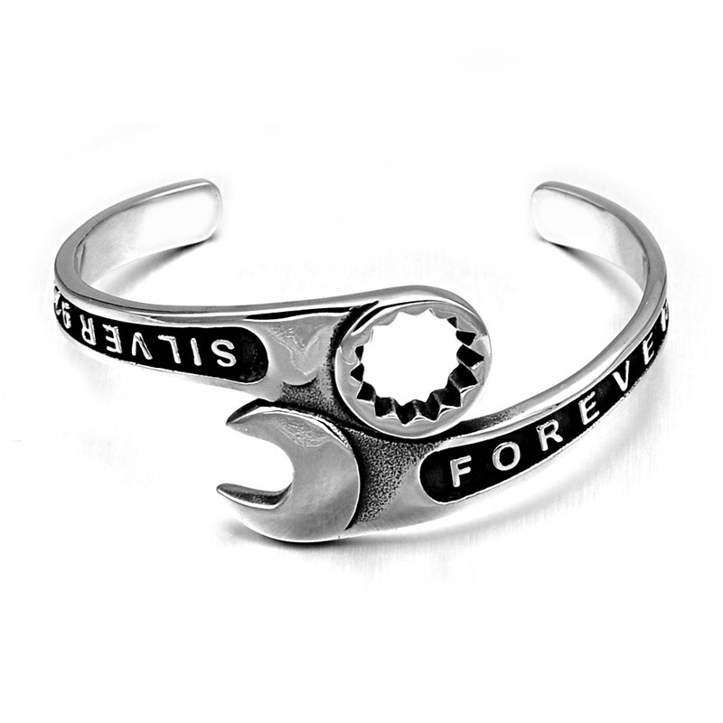 New forever spanner bangles retro nostalgia mechanical intaglio single head wrench Bangle man wristband Stainless Steel