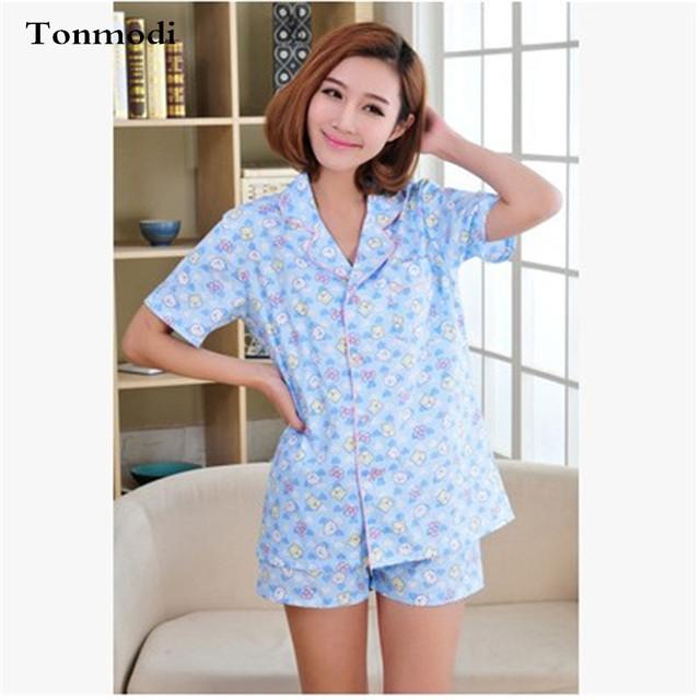 Pijamas Para Mujer de Verano de Algodón de Manga Corta Salón Pantalones Cortos de Pijama Conjunto Señoras de Impresión Pijamas ropa de dormir Cardigan
