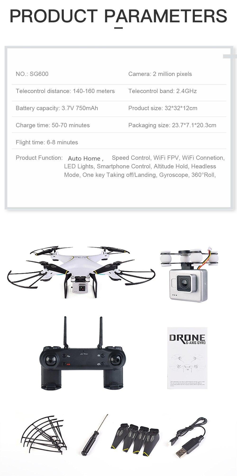 Sg600 Rc Drone With Camera 2mp Wifi Fpv Quadcopter Altitude Hold Bayangtoys X 16 Gps 2 Mega Pixel Putih 1 English Manual