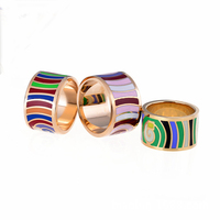 Width 13mm Fashion Three Color Thick Ring 18K Gold Plated Titanium Stainless Steel Super Junior Rings