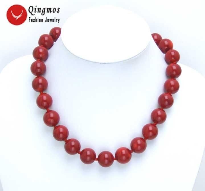 Qingmos красный коралловый чокер ожерелье для женщин с 14 15 мм Высокое качество круглый натуральный розовый коралл 18 ожерелье хорошее Jewelry ne5497