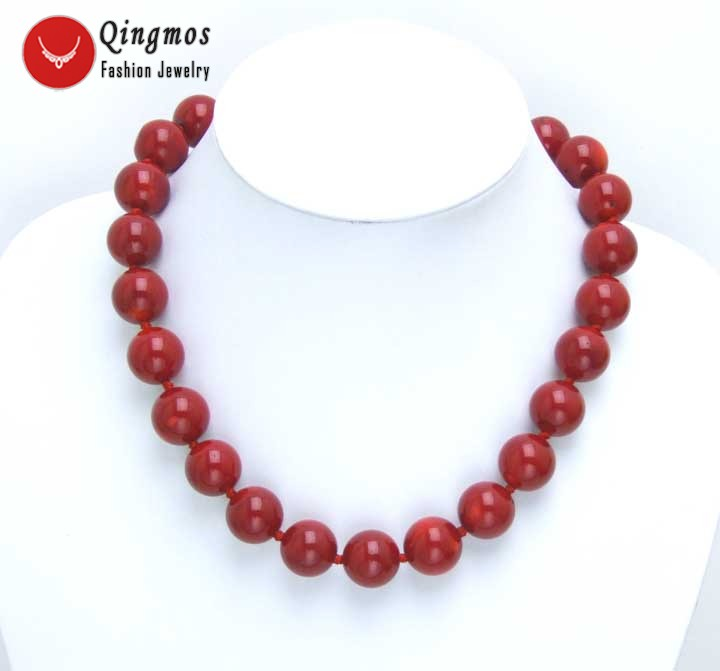 Qingmos Red Coral Chokers Necklace for Women with 14-15mm High Quality Round Natural Pink Coral 18 Necklace Fine Jewelry-ne5497 natural red coral with silk knot design necklace
