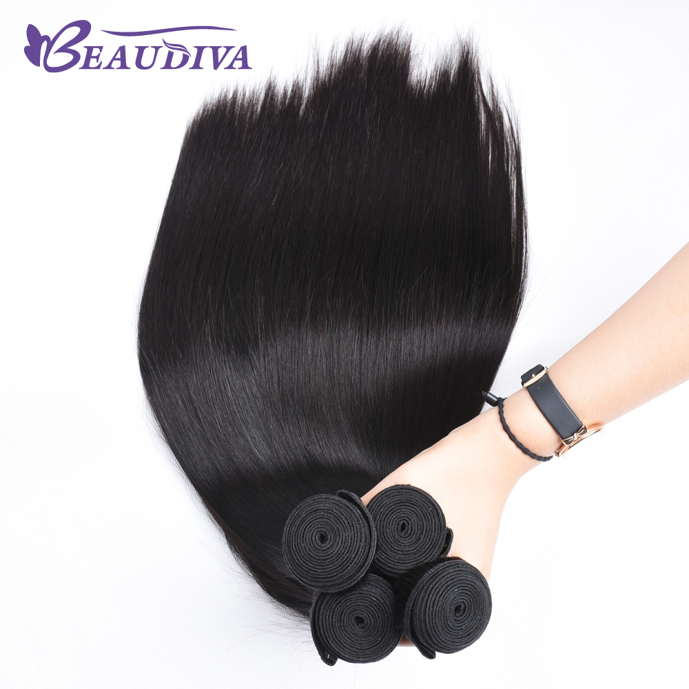 BEAU DIVA 1# Color 100% Human Hair Weave only Three Bundles 8 Inch -26 inch Non Remy Hair Indian Straight Hair Free Shipping