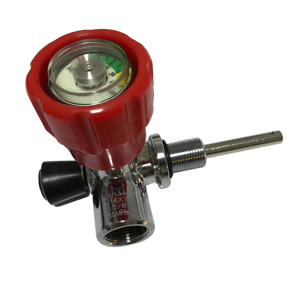 AC911 Compressed Air Valve Hpa 4500Psi Red Valve With Pressure Gauge For Scuba Air Cylinder Valve Pcp Acecare