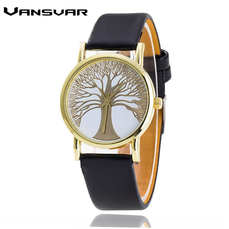 Vansvar Brand Fashion Tree of Life Watches Casual Women Gold Quartz Watches Hot Selling Relogio Feminino Gift цена 2017