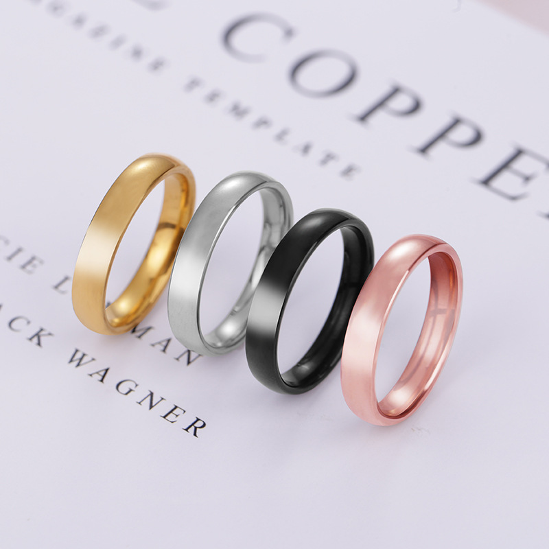 New sleek minimalist smooth titanium steel ring rose gold spherical stainless couple female