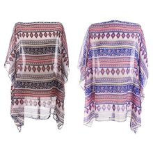 Womens Chiffon Half Sleeves Pullover Swimsuit Cover Up Ethnic Boho Stripes Printed Oversized Loose Kimono Round Neck Beach Sundr tropical style long sleeves round neck printed lace up swimsuit for women