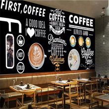 Custom wallpaper Europe and America Blackboard hand-painted coffee shop background wall painting advanced waterproof material