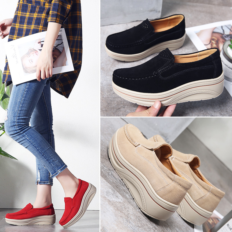 2019 Spring Women Platform Flats Shoes Slip on   Leather     Suede   Sneakers Lightweight Chaussure Femme Creepers Moccasins Woman 8338