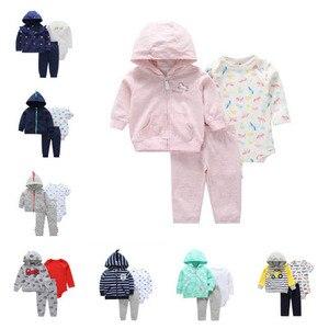Комплекты одежды из 3 предметов для маленьких девочек, одежда для малышей на осень и зиму, пальто с рисунком + штаны + боди, комплекты одежды д...