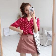 2019 Blouse Women Retro Summer Chiffon Dot Print Slim Short Sleeve Lapel Single Buckle Casual