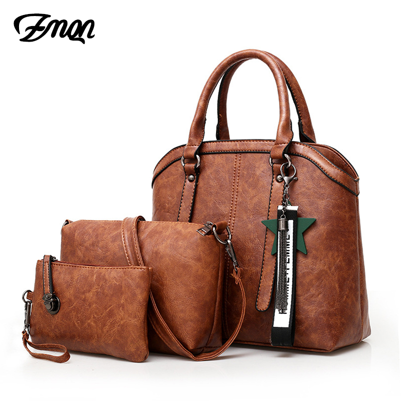 ZMQN Handbags Women Hand Bag 3 Sets 2018 Vintage Combination Crossbody Bag for Women PU Leather Handbag Lady Bolsa Feminina C653 piping detail pu combination bag 6pcs