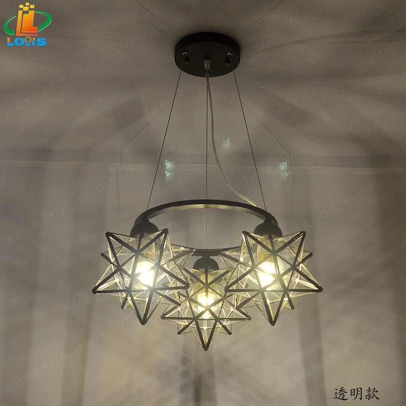 New three-character pentacle chandelier creative bar counter restaurant designer light simple bedroom glass American lighting ...