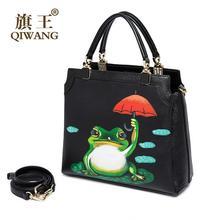 QIWANG women bag 2016 new genuine leather bag quality fashion hand painted frog quality women leather handbags shoulder bag