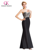 Cheap Elegant Long Evening Dresses Gowns 2015 Grace Karin Sexy Strapless Black Leopard Print Prom Formal