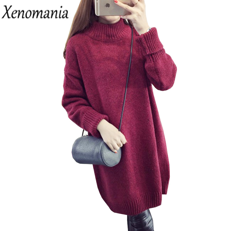 Warm Knitted Dresses Large Sizes Winter Dress Women Sweater Dress 2017 Vestidos Plus Size Vintage Robe Turtleneck Christmas Red