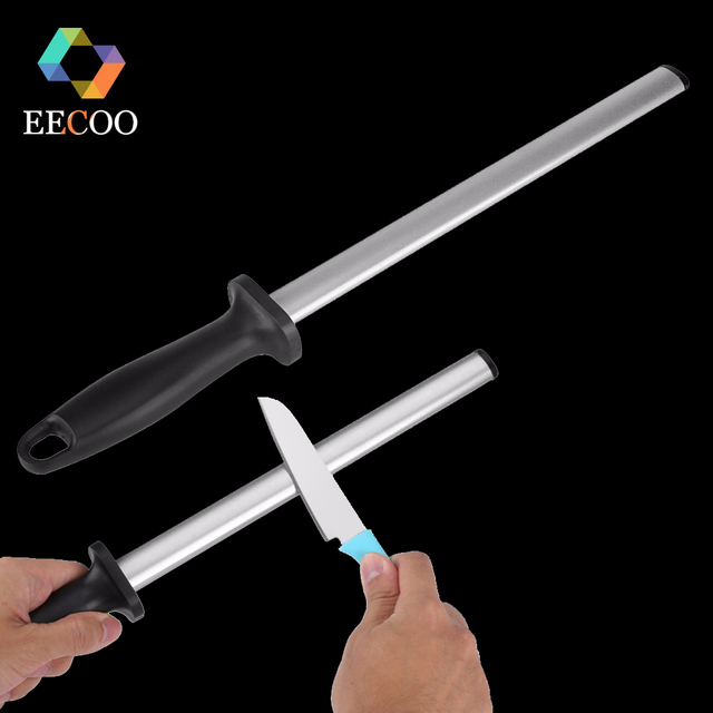EECOO 8/10Inch Professional Chef Knife Sharpener Rod Diamond Sharpening Stick Honing Steel For Kitchen Knife All Knives