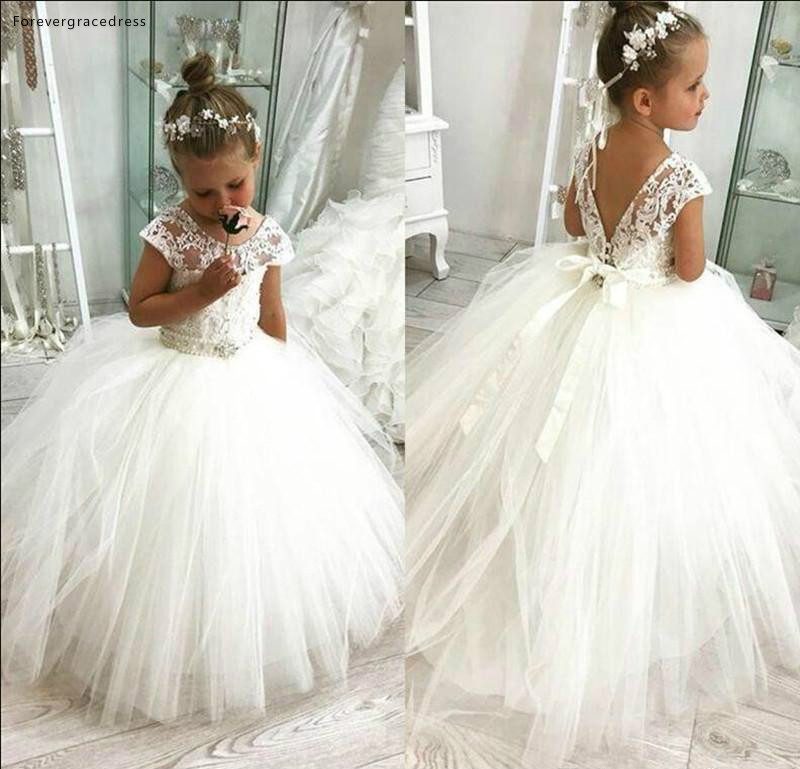 White Lovely Cute   Flower     Girl     Dresses   Vintage Princess Appliqued Daughter Toddler Pretty Kids Formal First Holy Communion Gowns