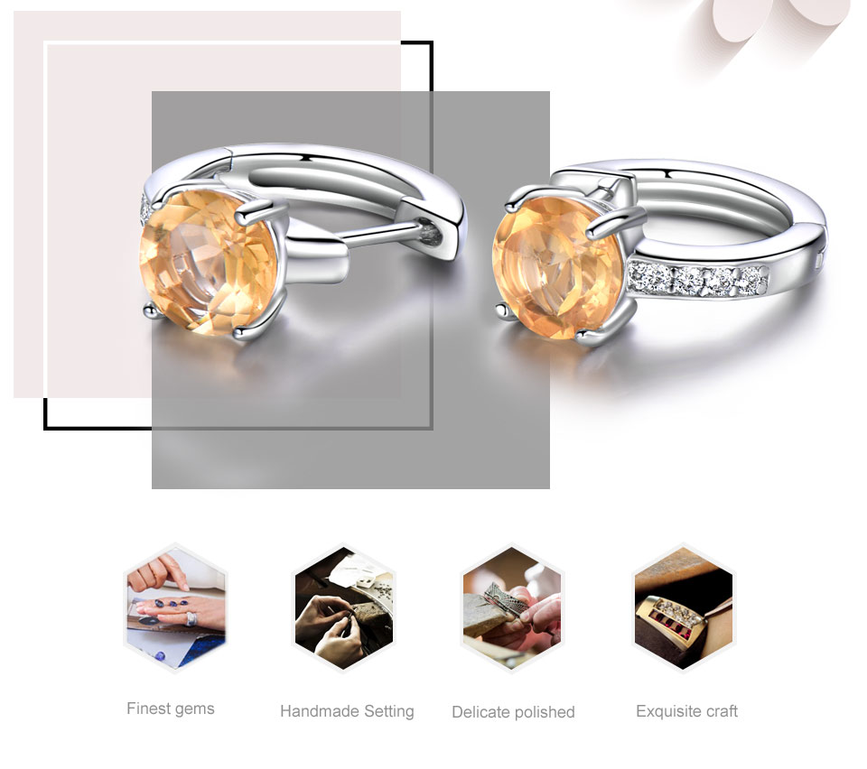 925 sterling silver natural citrine earrings for women (2)