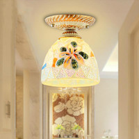mini 1 pcs Tiffany Ceiling Lights stained Glass shade Led Ceiling Lamp With Soothing Lampshade For Bedroom Aisle Balcony Lamp