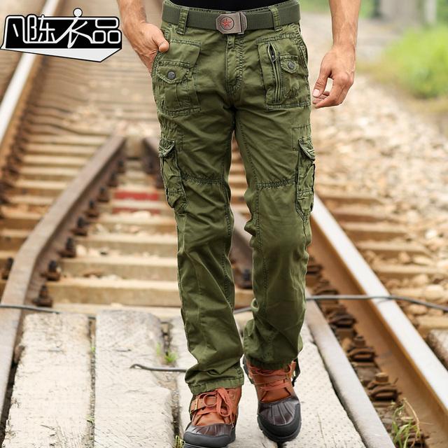 Fanchenyipin Marca Para Hombre Multi-Bolsillo de los Pantalones de Algodón Sueltos Ejército Táctico Militar Uniforme de camuflaje Pantalones Pantalones de Carga Para Los Hombres sin cinturón