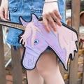 Fashion personality unique design laser cute unicorn diamond shape envelope package Clutch handbags wallet purse