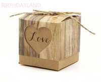 100pcs Romantic Heart Candy Box for Wedding Decoration Vintage Kraft Wedding Favors/Gifts Box with Burlap Twine Chic LUHONGPARTY