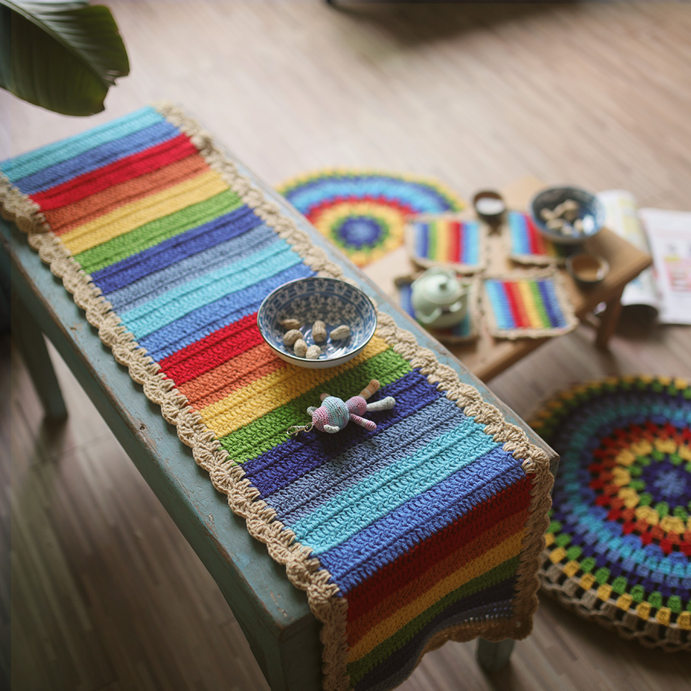DIY Rainbow stripe Crochet tablerunner Coaster tablecloth Cushion christmas decorations for home table  dining table runner