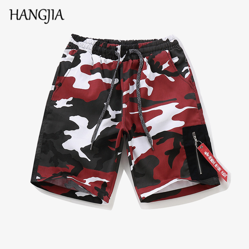 Camouflage Cargo Shorts Mens Streetwear Hip-hop Joggers Thin Purple/red/yellow/gray Camouflage Zipper Casual Shorts Men Women