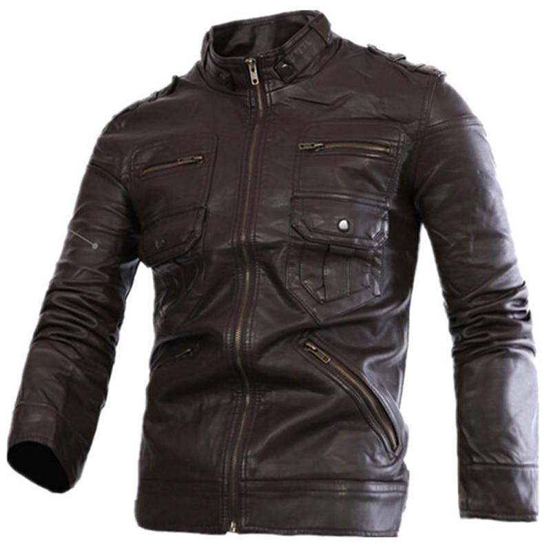 2018 nouveau Style russe hommes Zipper veste en cuir et manteaux Slim Fit homme moto Avirex vestes en cuir hommes vêtements S2156 - 3