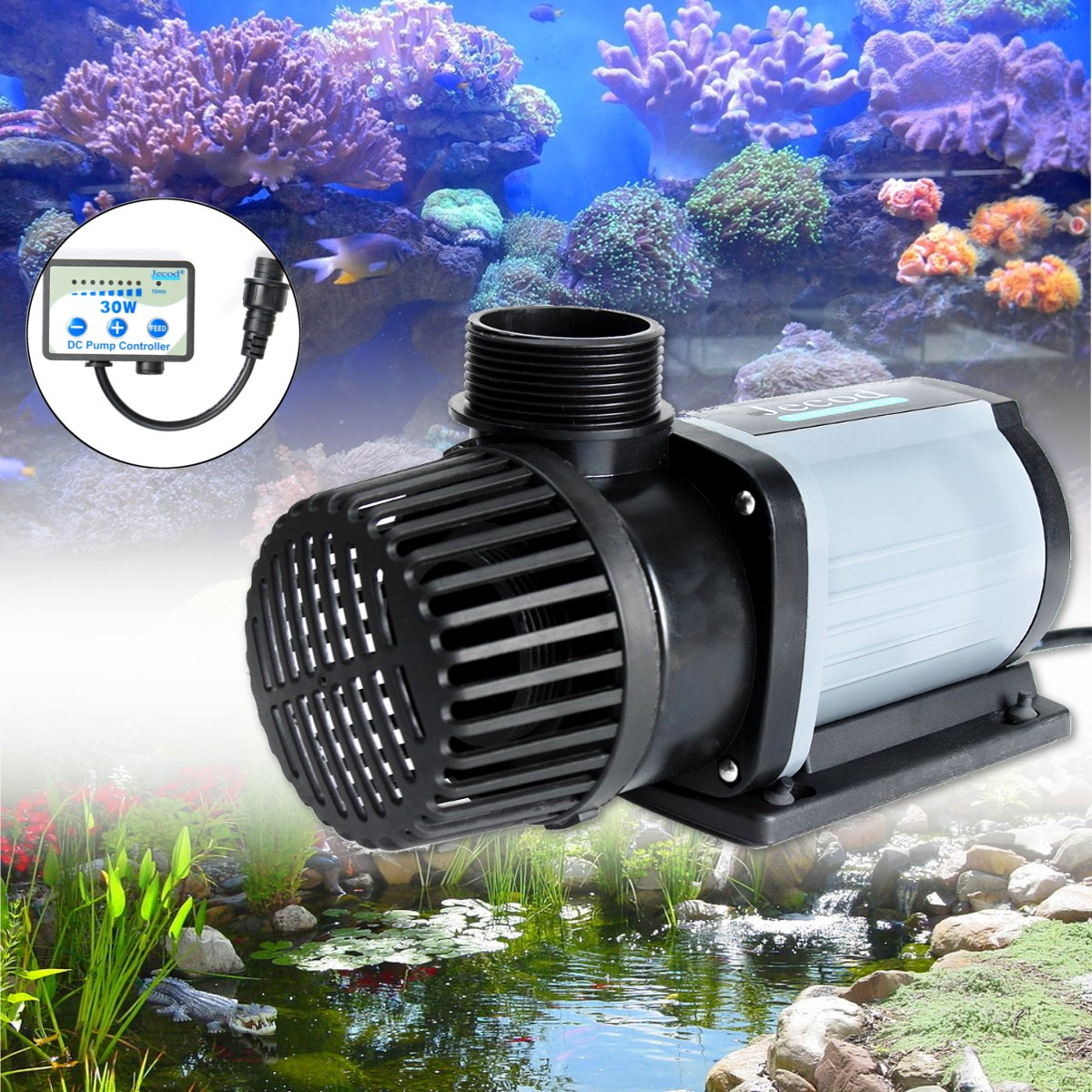 30/50/100W DC Marine Aquarium Pump Submersible 3000L Super Quiet Operation Variable Flow Controller DCS 2000-12000 with Adapter dc 3000 25w quiet electrical aquarium fish tank pump 3000l salt fresh water use submersible pump with flow controller
