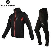 ROCKBROS Зима Велоспорт Комплект для бега Термальность Для мужчин велосипед мандарин Куртка с воротником брюки костюмы Костюмы оборудовать Для мужчин t 7 размеров